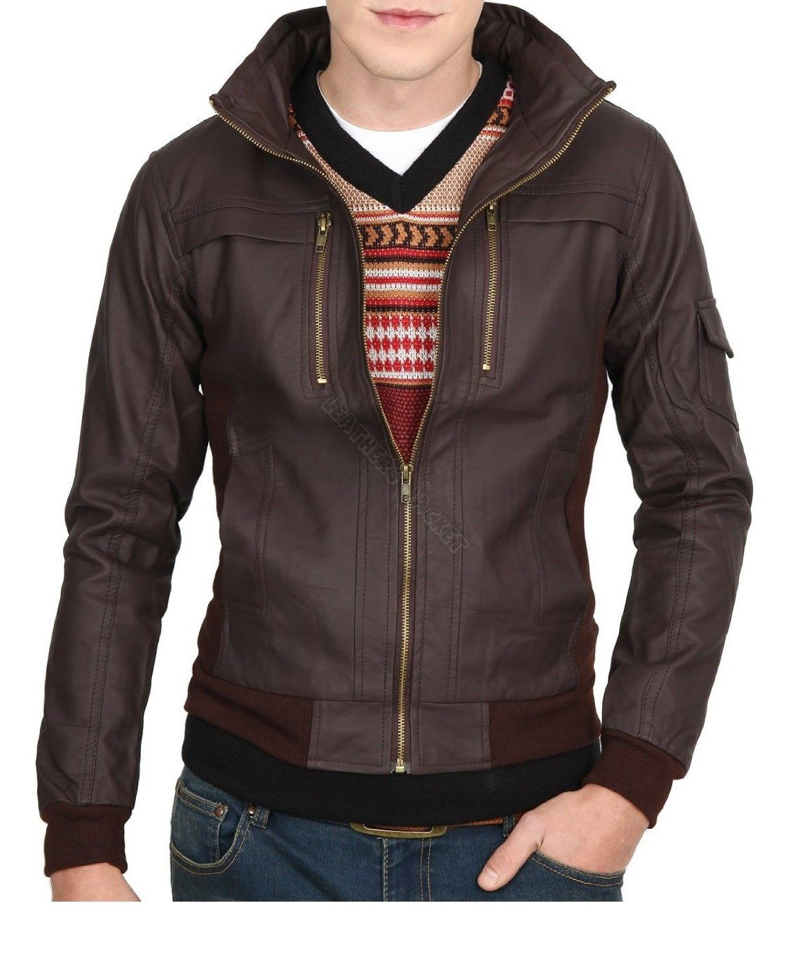 Handmade Men Slim Leather Jacket, Brown Biker Leather