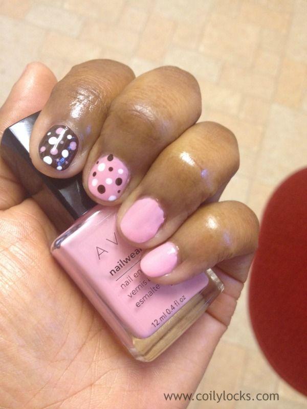 Nail art brown and pink choice image nail art and nail design ideas pink brown polka dot nail art coily locks manicure monday alisha pink brown polka dot nail prinsesfo Image collections