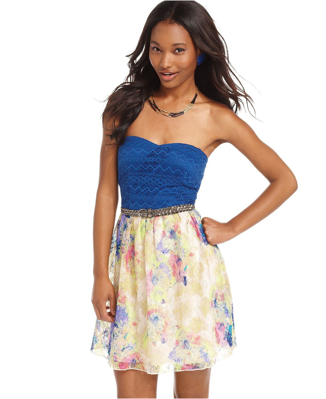 City Studios Juniors Dress, Strapless Lace Belted Floral-Print ...