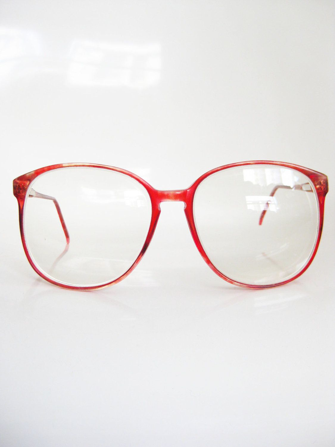 Vintage CHERRY RED Glasses Eyeglasses ROUND 1980s Sunglasses Oversized Eighties Large Indie Hipster