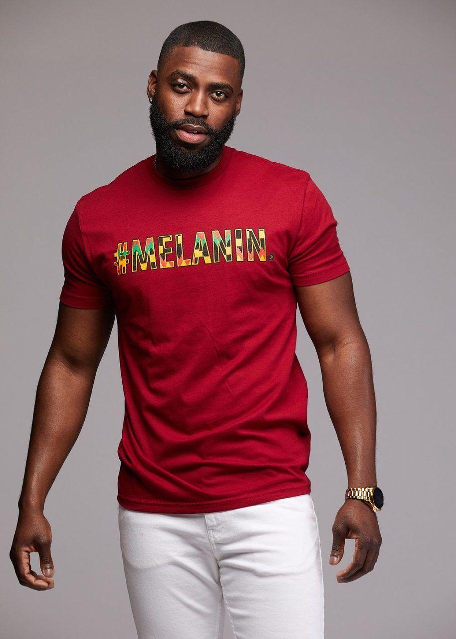 cf68baca9f76 Tops - Akono Men s Melanin African Print T-Shirt (Maroon Yellow Black Kente)