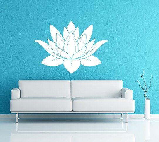 Lotus Flower Vinyl Decal Wall Art Spiritual Decal Namaste Wall Mural ...
