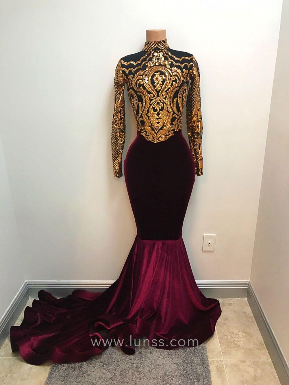 Gold Sequin Plum Velvet Long Sleeve Prom Dress Prom Girl Dresses Velvet Prom Dress Prom Outfits [ 1333 x 1000 Pixel ]
