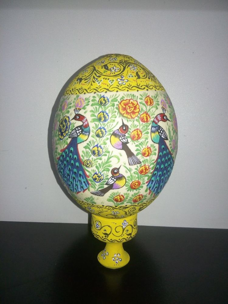 PAINTED OSTRICH EGG SHELL NATURAL GRADE A WITH A STAND تخم شتر مرغ