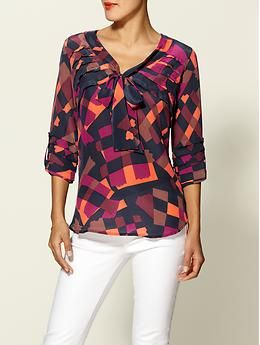 gorgeous blouse!  i love the color combination. . .trinity geo print silk blouse, piperlime.com