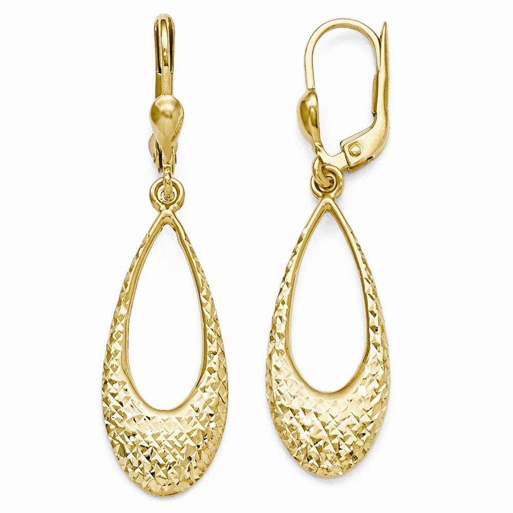 Leslie's 10k Polished and Diamond-cut Dangle Leverback Earrings