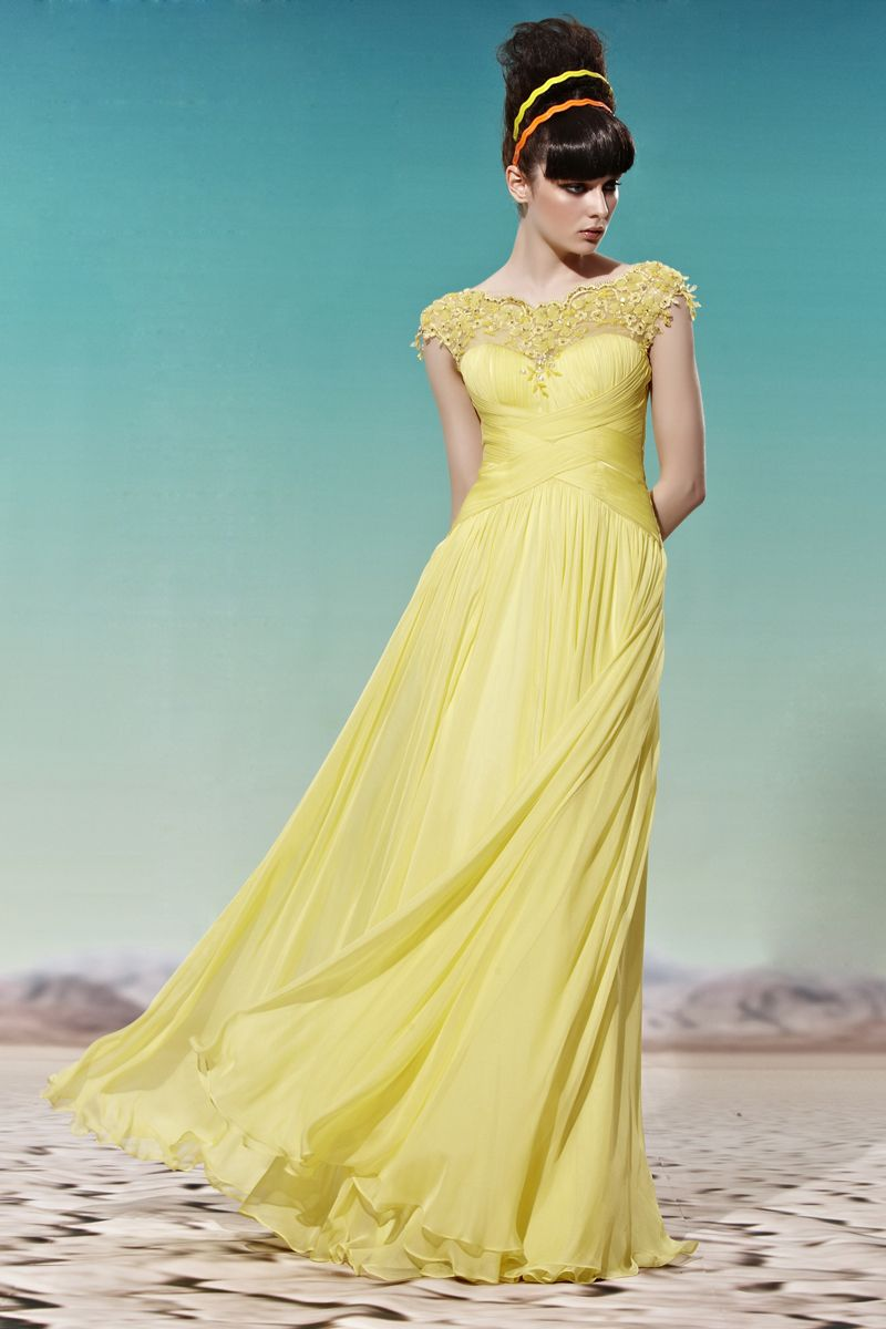 Yellow scallopededge party dress bridesmaid cocktail ball gown