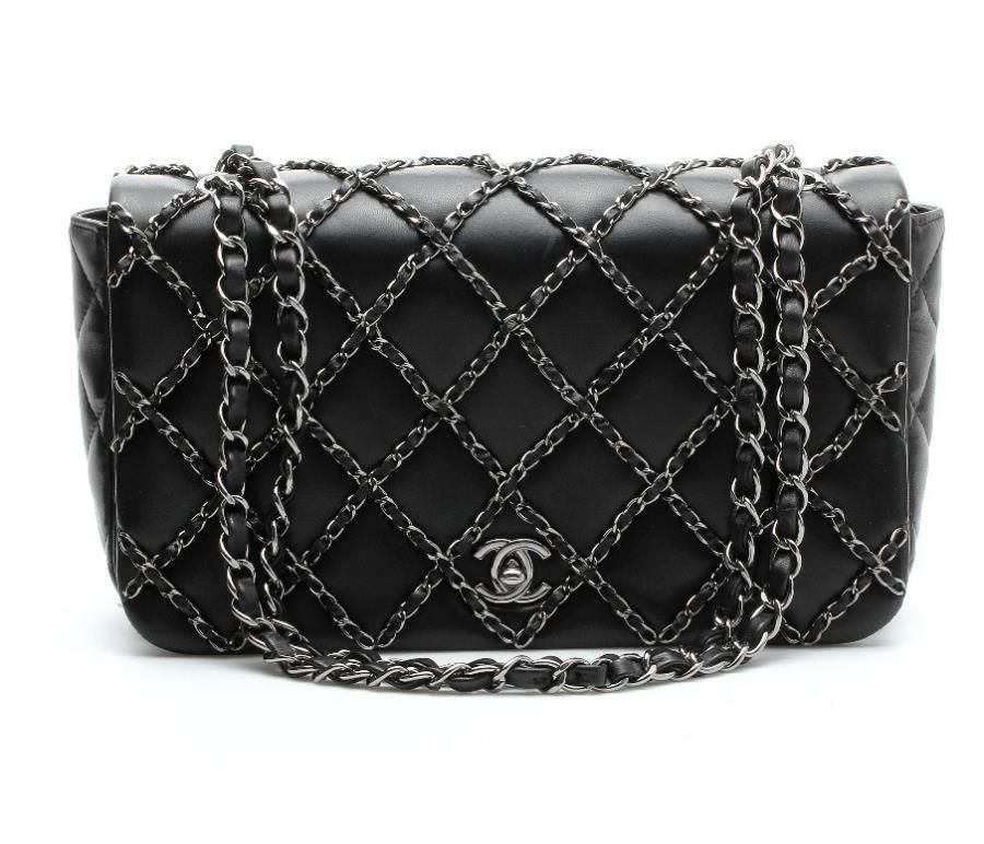 2fadd6f7d11a Chanel Black Lambskin Leather & Gunmetal Chain Embellished Flap Bag 14P NEW  #Chanel #FlapBag