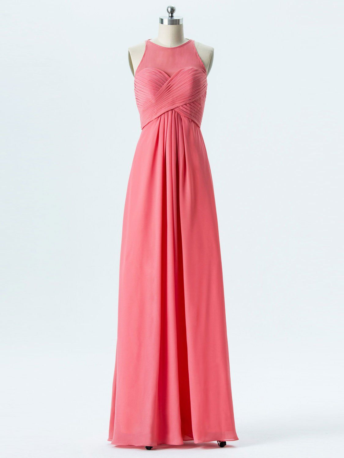 A-line Halter Empire Watermelon Chiffon Long Bridesmaid Dresses APD2866