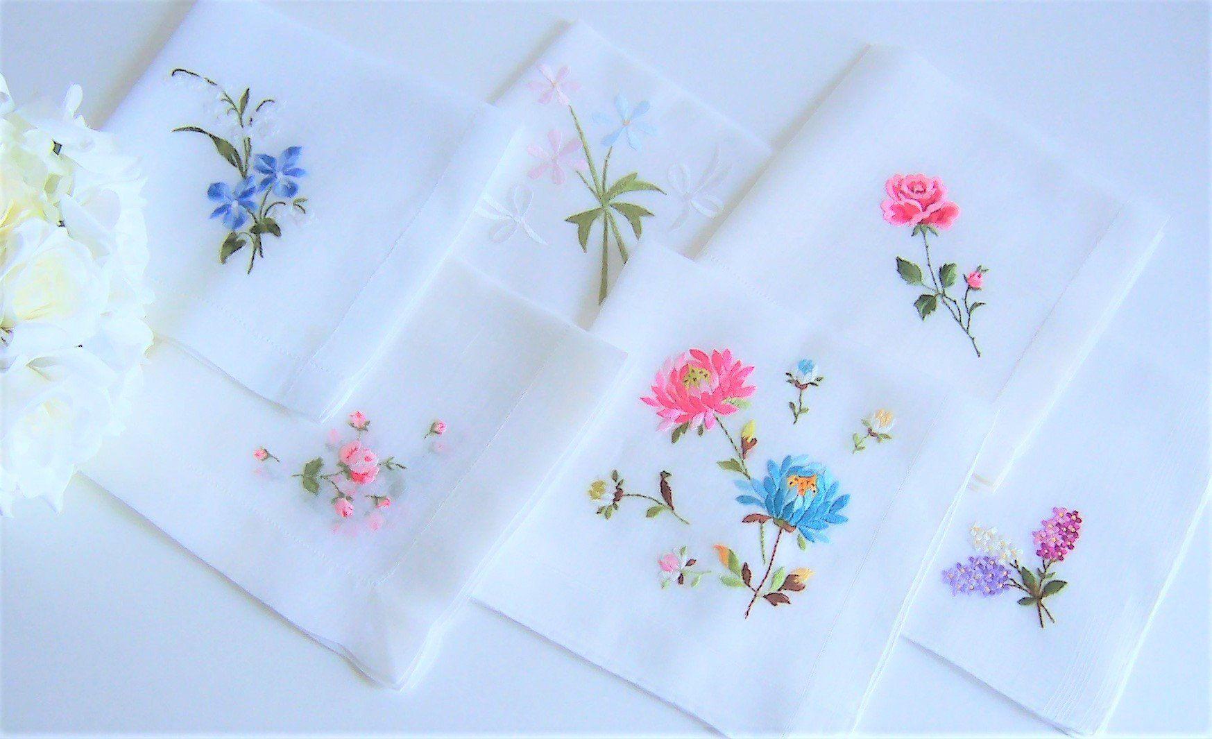 Happy Tears Bridal Shower Gift Blue Floral Applique 1950/'s Antique Heirloom Hanky Something Blue Wedding Handkerchief for a Bride