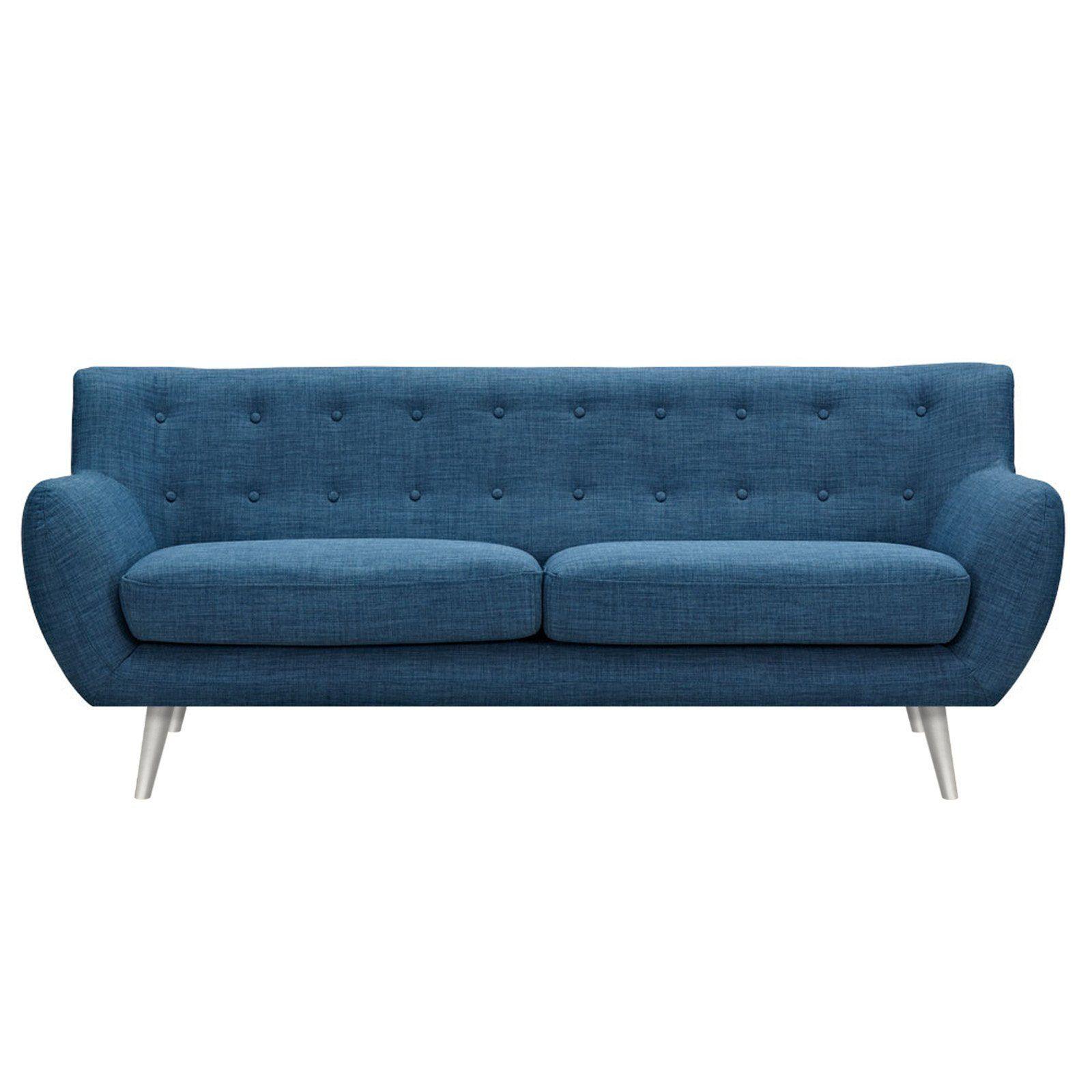 Anke Mid Century Modern Sofa   Stone Blue