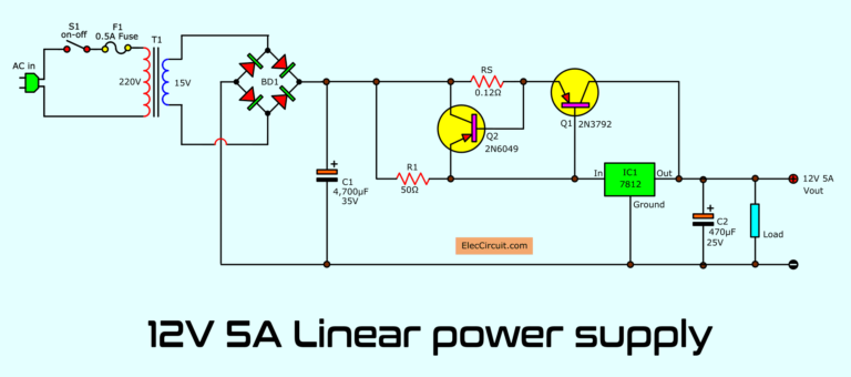 Simple Designing 12v 5a Linear Power Supply Eleccircuit Com In 2020 Power Supply Circuit Circuit Diagram Voltage Regulator