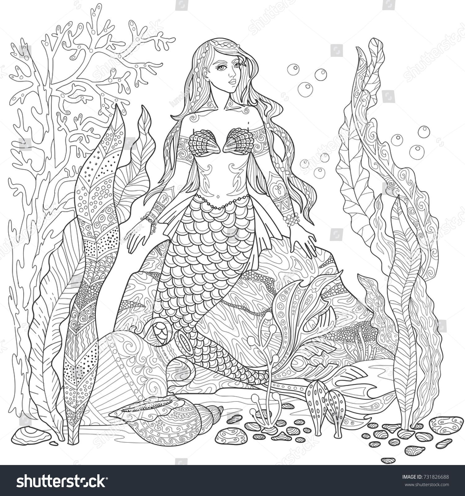 Mermaid on the seabed page. Sea life with algae and shell in doodle ...