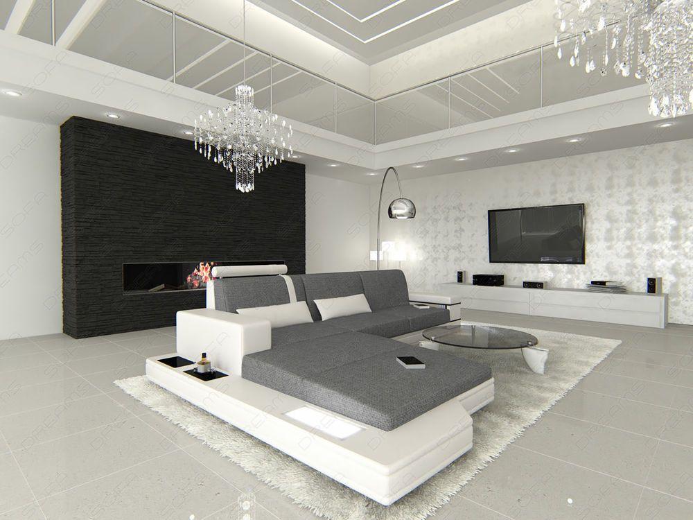 Design #Stoff #Wohnlandschaft Materialmix MESSANA U-Form - Exklusiv - Ebay Küchen Kaufen