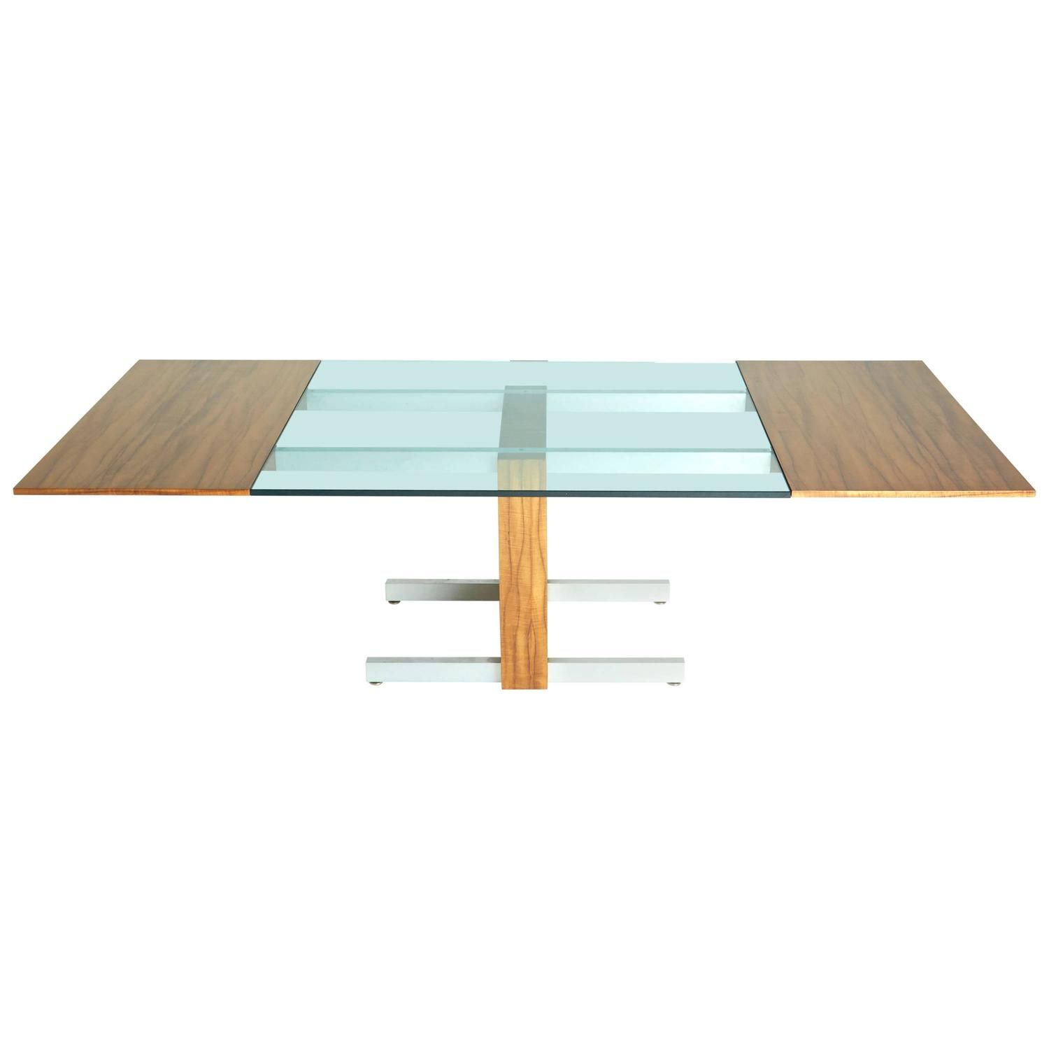 Vladimir Kagan Glass, Aluminum and Wood Dining or Conference Table | 1stdibs.com