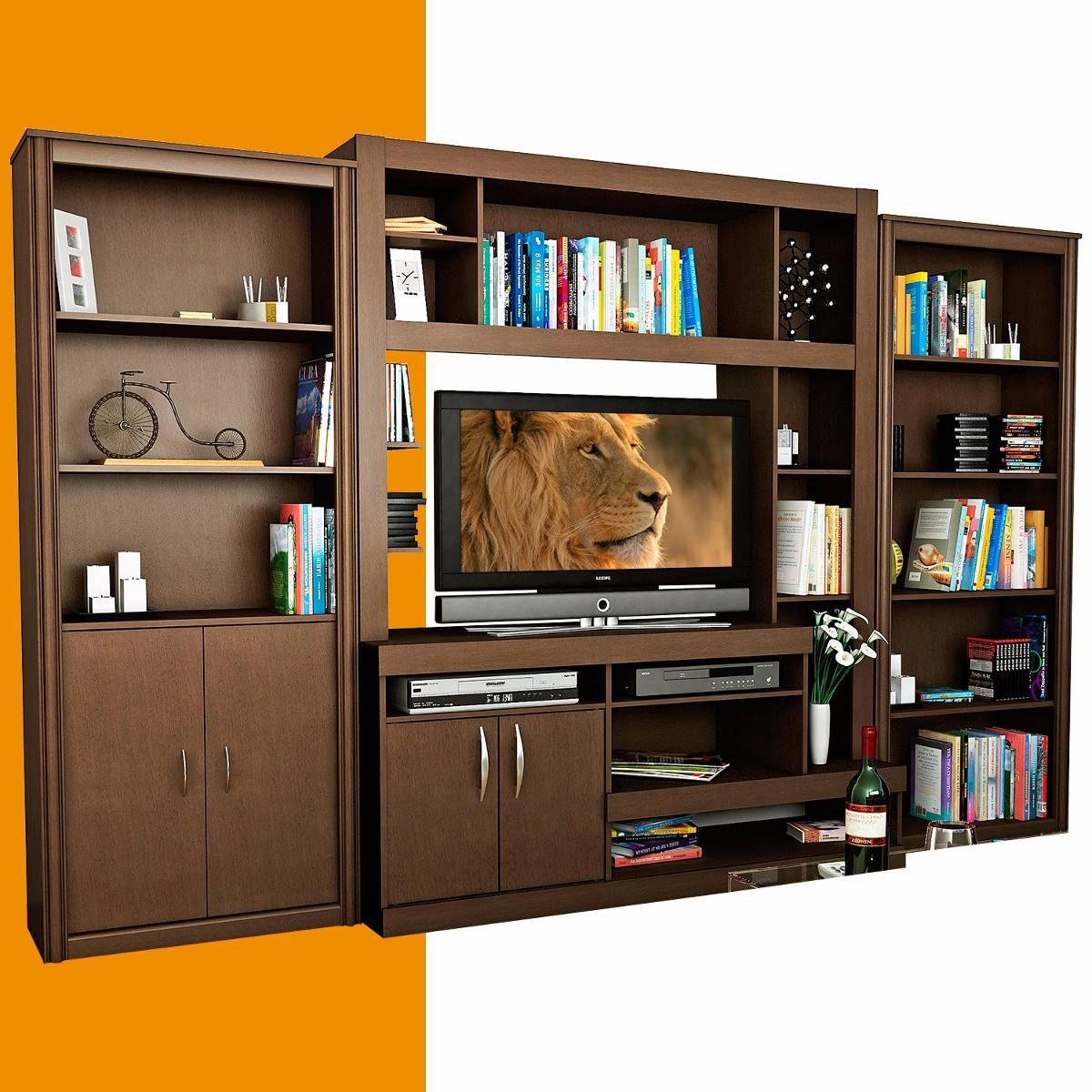 Juego Modular Rack Mesa Tv Led Lcd 42 Bibliotecas Melamina 950701  # Muebles Bibliotecas Modulares