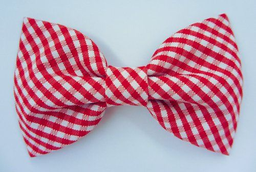 Red Gingham - Dog or Cat Handcrafted Slide-On Bow Tie Collar Accessory (Collar Not Included)... DogSiteWorld-Store - http://dogsiteworld.com