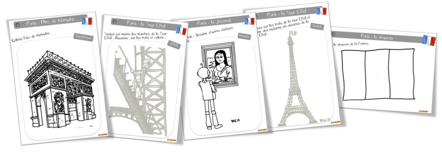 Londres, Paris, Egypte, Asie, USA, etc.  Coloriages - Bout de gomme