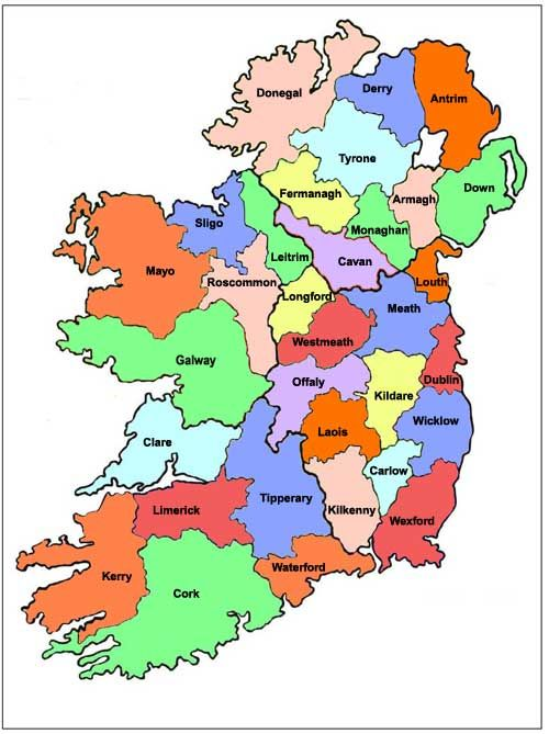 Map Of Ireland Showing All 32 Counties: Irish County Maps At Slyspyder.com
