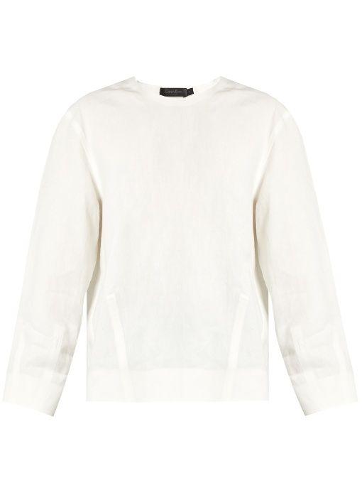 CALVIN KLEIN COLLECTION Lotti linen herringbone top. #calvinkleincollection #cloth #top