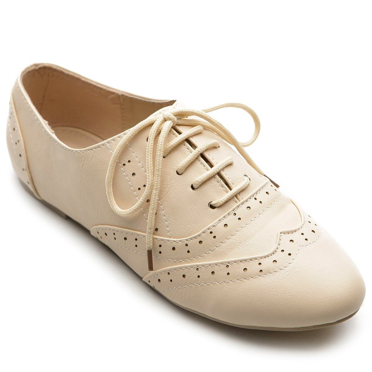 Amazon.com Ollio Womenu0026#39;s Shoe Classic Lace Up Dress Low Flat Heel Oxford Shoes | Clothes And ...