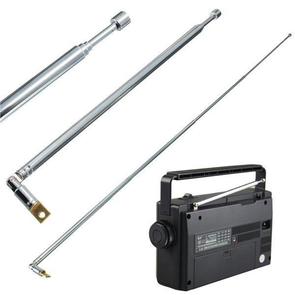 Metal Full-channel AM FM Radio Telescopic Antenna 63cm Length 4 Sections IG