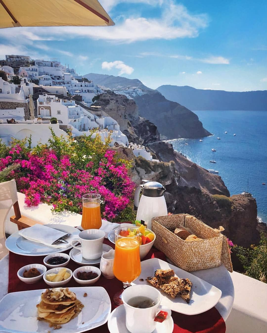 Breakfast Goals Santorini Greece Phot Happy Day