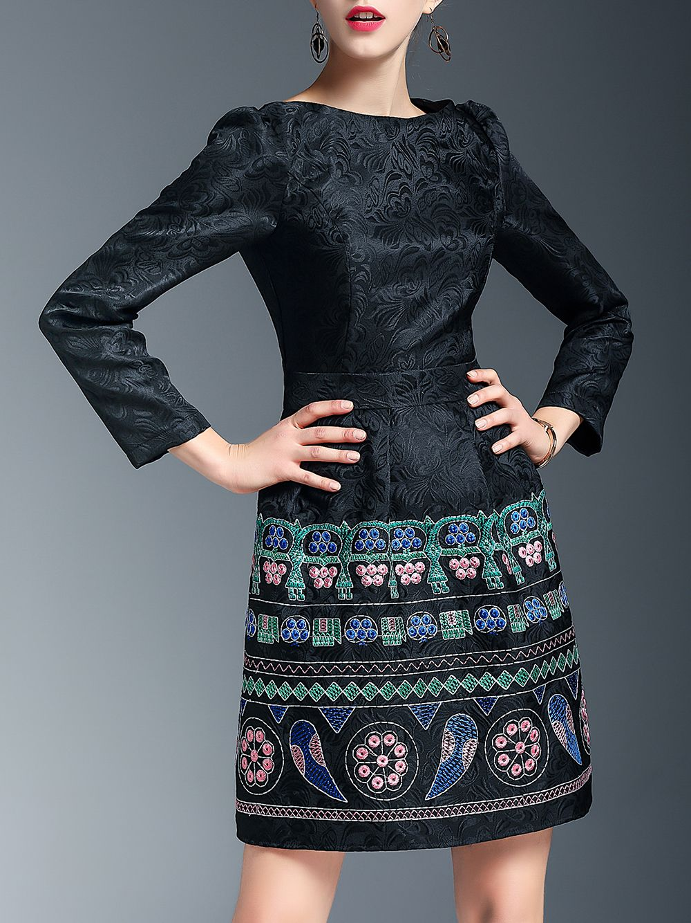 Buy it now black embroidered jacquard shift dress black round neck