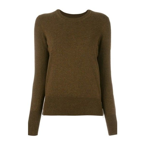 ISABEL MARANT ETOILE 'Kessy' Jumper (€170) ❤ liked on Polyvore featuring tops, sweaters, green, brown tops, green jumper, green top, jumper top and long sleeve tops