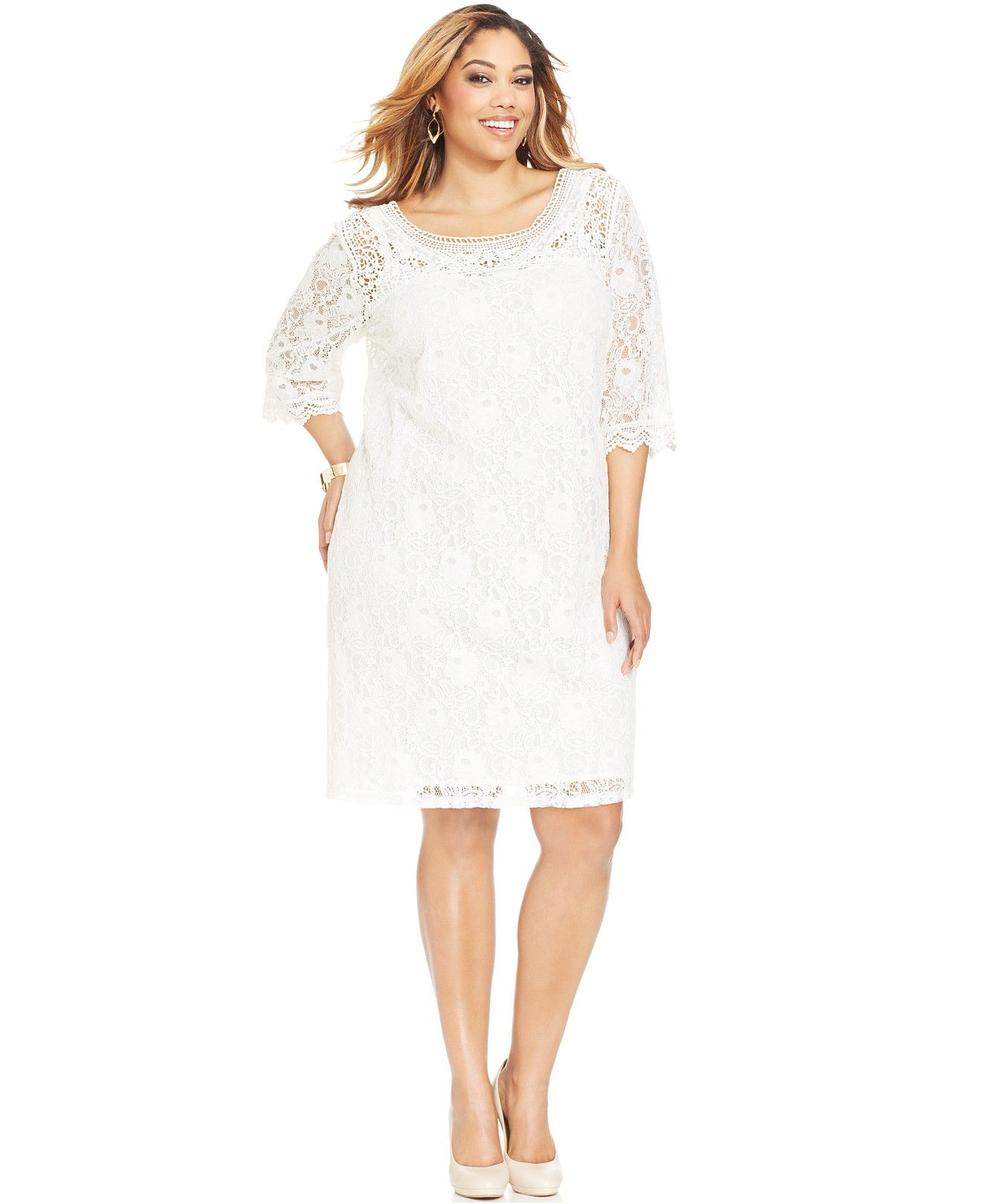 Spense Plus Size Three-Quarter-Sleeve Lace Dress - Dresses ...