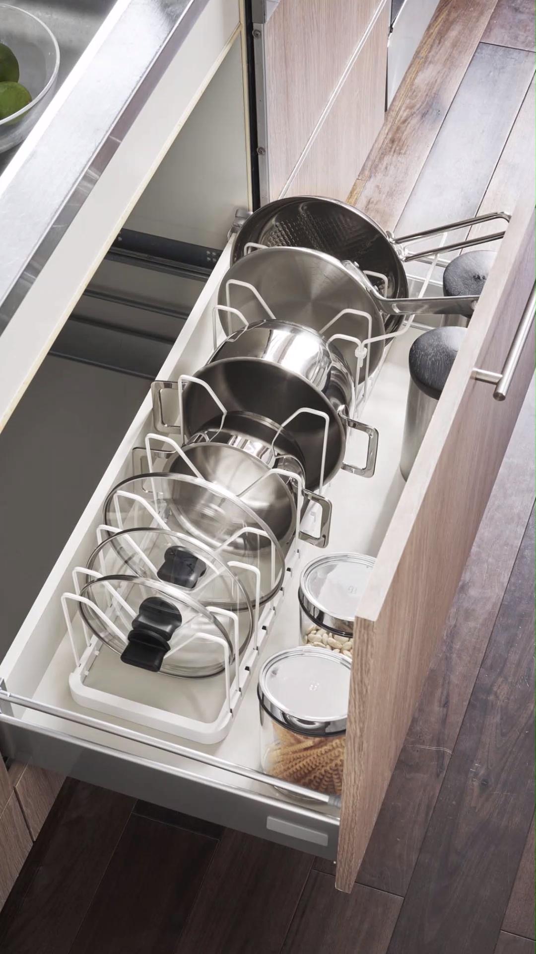 Adjustable Lid Pan Organizer Video Video Kitchen Cupboard Organization Pot Storage Kitchen Drawer Organization