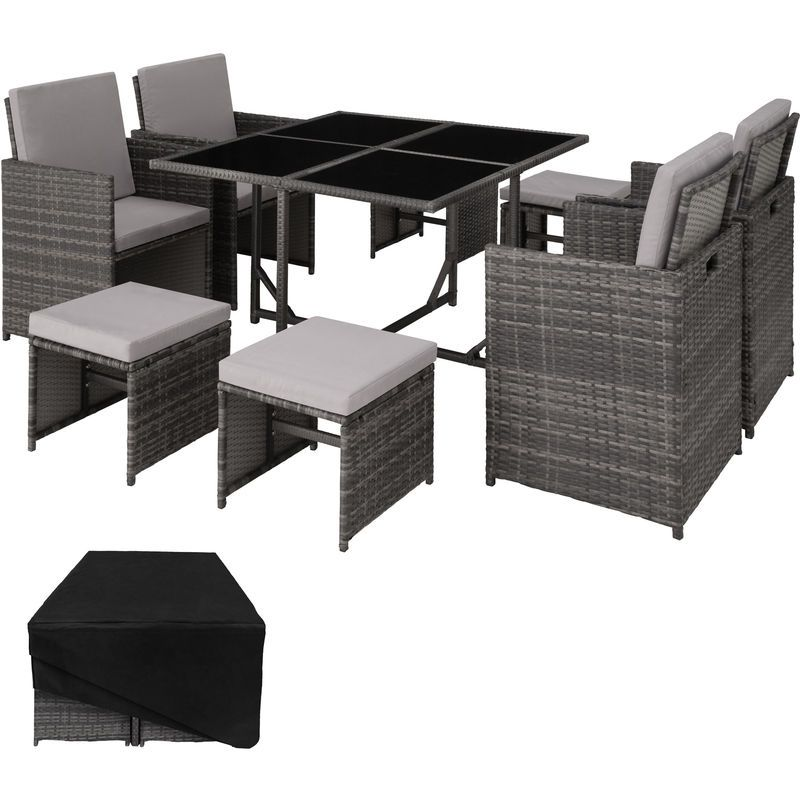 Salon de jardin | Rattan garden furniture sets, Garden table ...