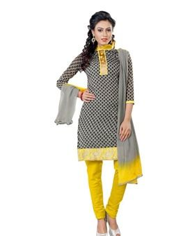 #Stupendous #Grey & #Yellow #Colored Embroidered  #Dress #Material