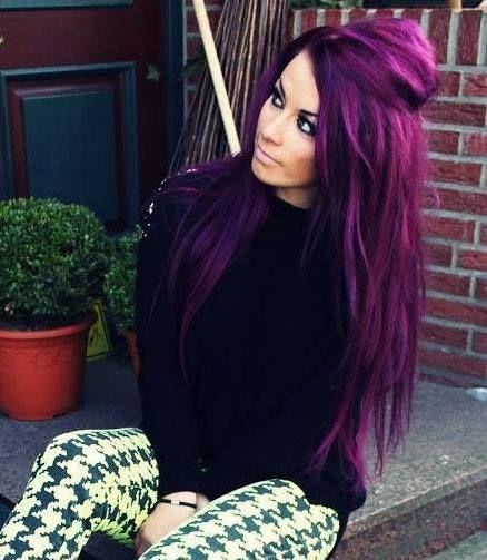 Purple/pink Hair coloration reflets violets et fuchsia