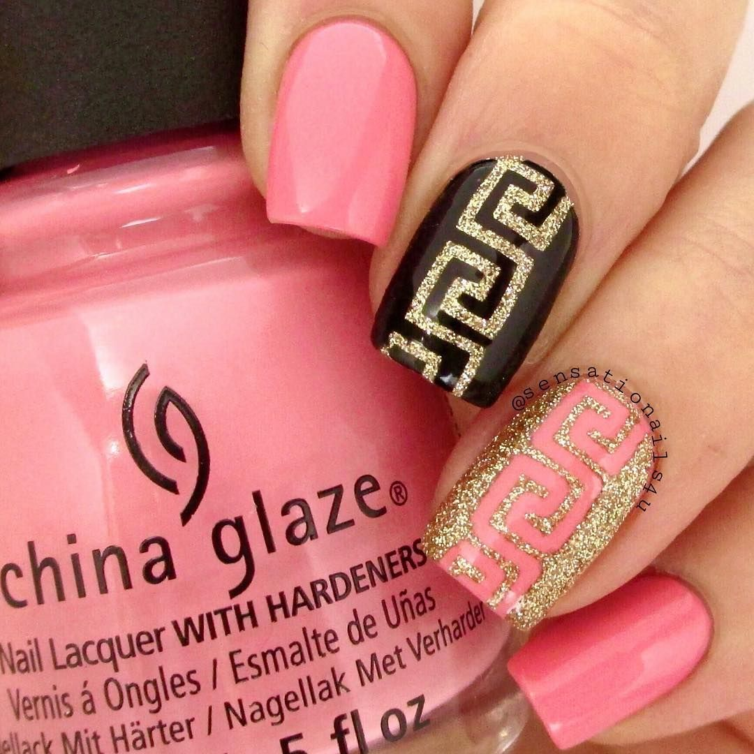 """""""I created this design totally inspired by a dress I saw on the street.  It was like this pink with same details as my two accent nails.  Perfect to use my…"""""""