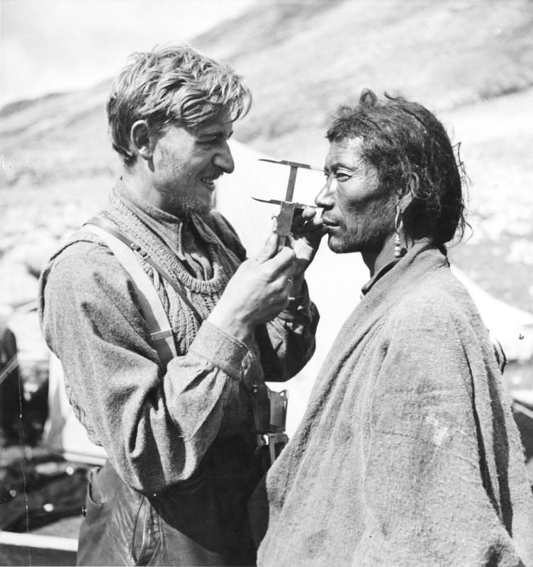 The 1938-1939 German Expedition to Tibet was a Nazi German scientific expedition from May 1938 to August 1939, led by German zoologist and SS officer Ernst Schäfer. Bruno Beger (pictured left) is Beger conducting anthropometric studies in Sikkim.