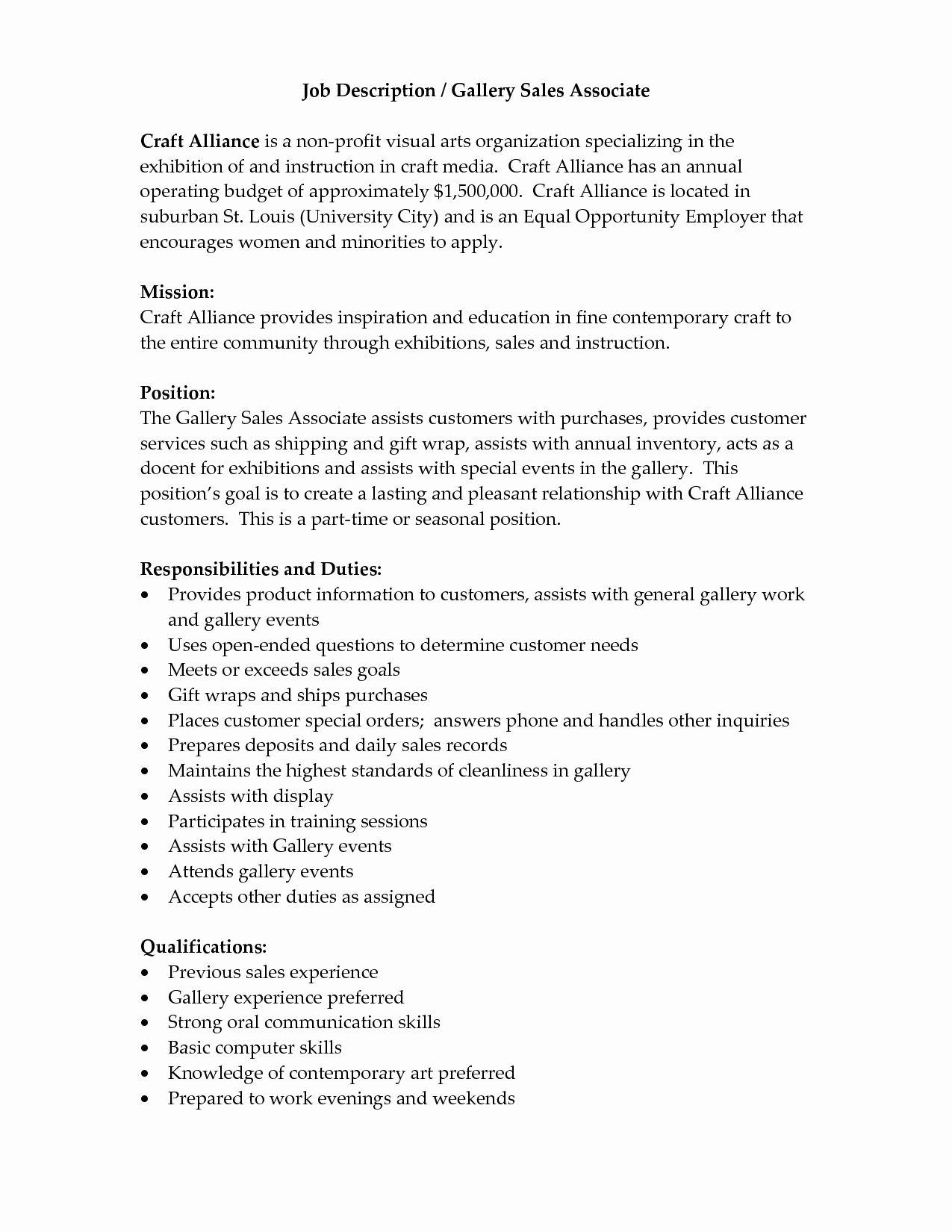 Retail Job Description Resume Elegant Sales associate Job