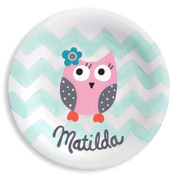 Pink owl and chevron ceramic plate hand painted personalized gift personalized hand painted owlchevron ceramic kids plate baby gift negle Choice Image