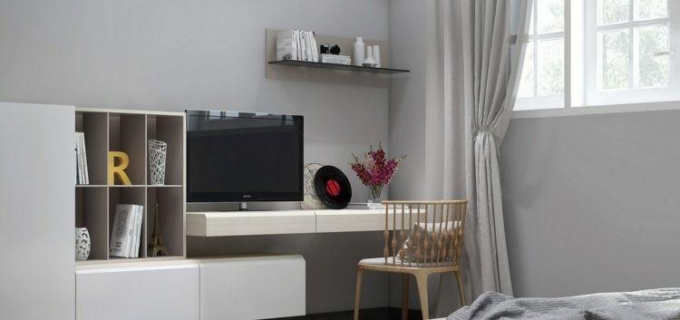 Aménagement de bureau moderne dans un salon design ! - peindre un meuble laque blanc