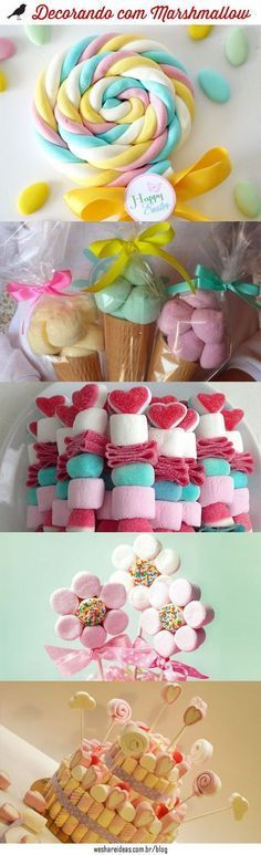 10 ideias de decoração de festa com marshmallow.