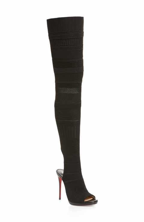 Christian Louboutin Women's Cheminetta Over The Knee Sock Sandal shCbPv2Ytw