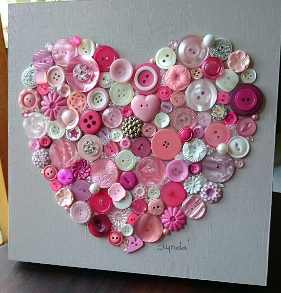 Delicious pink button art heart!