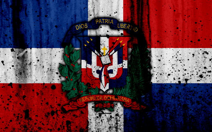 Download Wallpapers Dominican Republic Flag 4k Grunge North America National Symbols Coat Of Arms