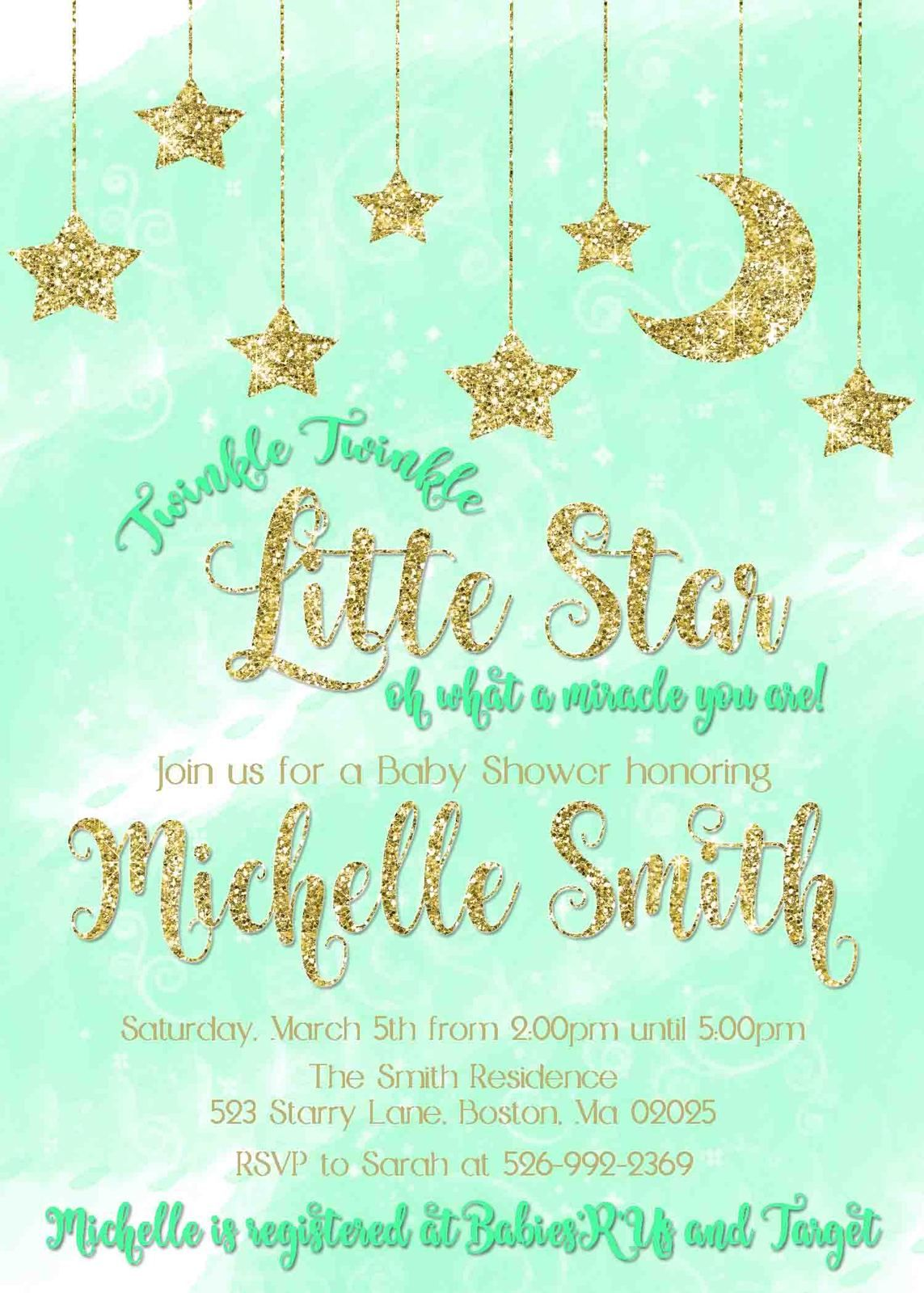 Twinkle Twinkle Little Star Green Gold Glitter Baby Shower