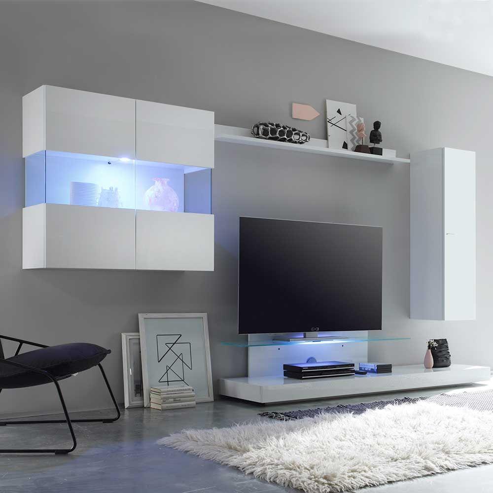 Designer Wohnwand In Weiß Hochglanz 320 Cm Breit (4 Teilig) Jetzt Bestellen  Unter