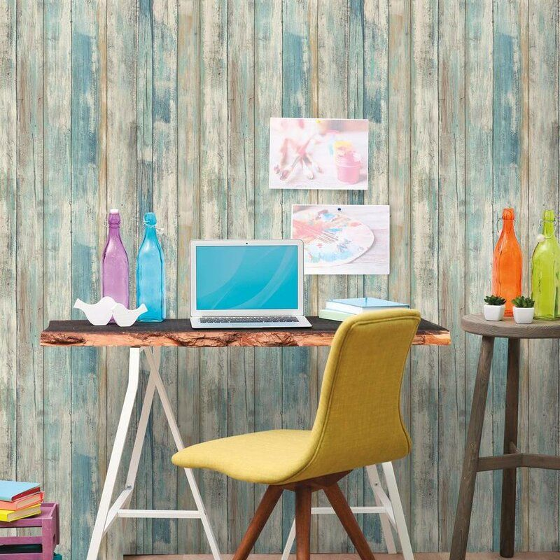 16 5 X 20 5 Peel And Stick Wallpaper Roll In 2020 Distressed Wood Wallpaper How To Distress Wood Distressed Wood Wall