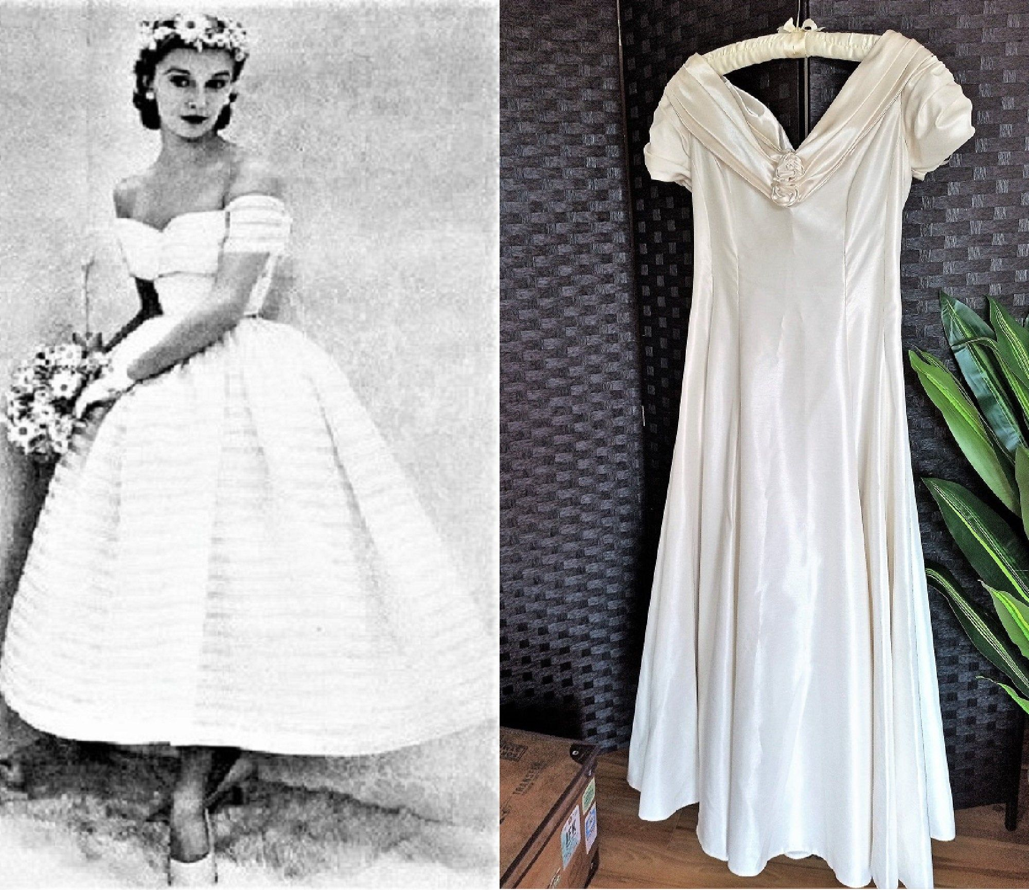 Fit and Flare Silk /& Lace Vintage Wedding Bridal 1950s Gold Dress 50s Formal Special Occasion Dress