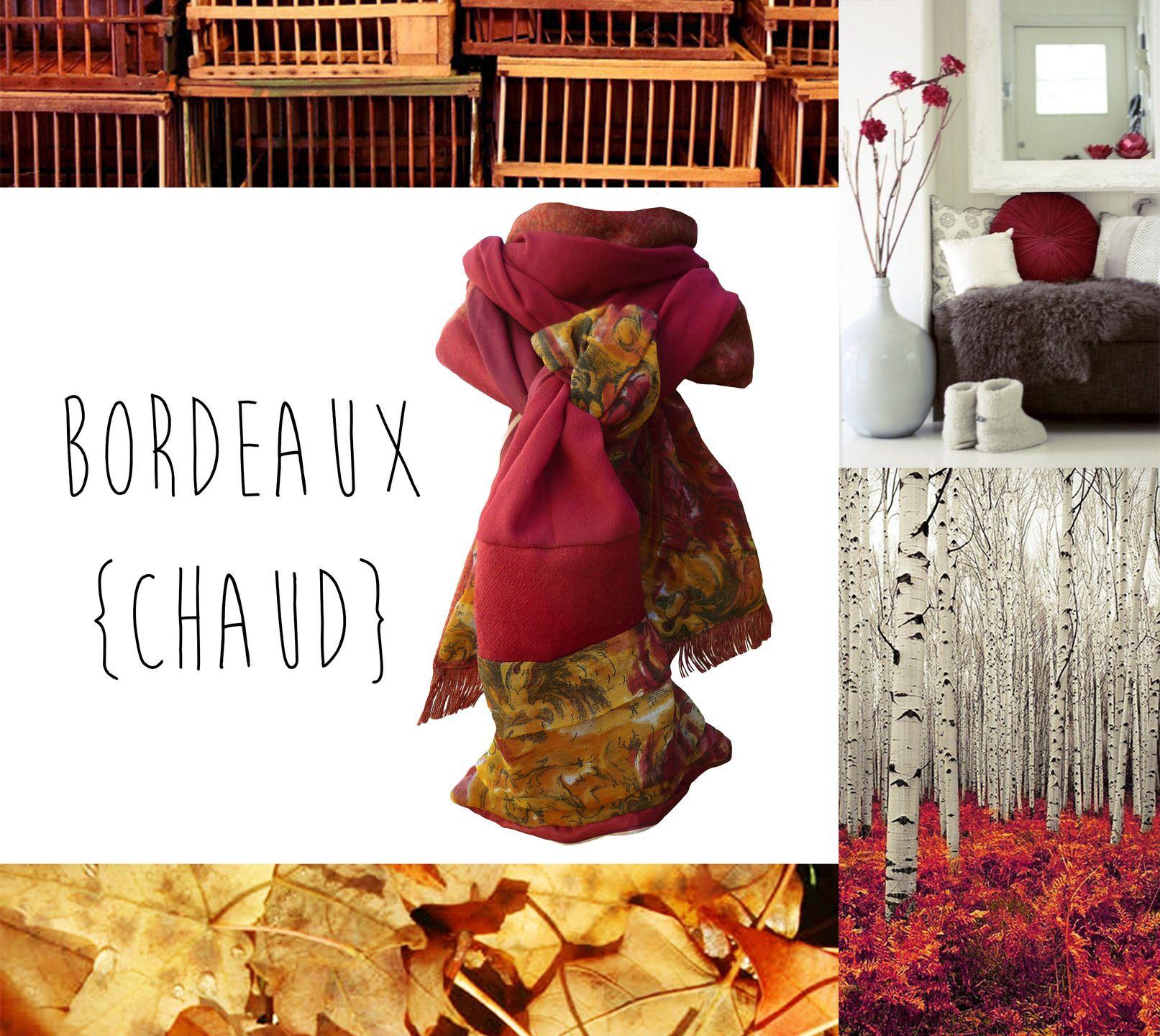 faf7ca05796 Echarpe Femme Homme Laine Automne Hiver Bordeaux Rouge Or Rouille Motifs  Fleurs Fait Main   Echarpe