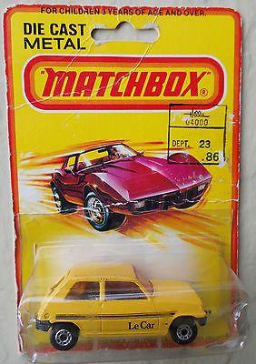 Vintage 1978 Lesney Matchbox Superfast Yellow #21 RENAULT Le CAR, Mint On Card  - http://www.matchbox-lesney.com/38373