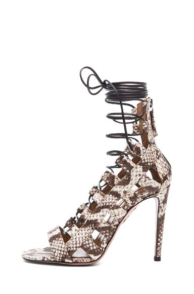 AQUAZZURA | Amazon Elaphe Snakeskin Sandals in Roccia